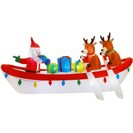 Holiday Time Airflowz™ 10 ft. Inflatable Row Boat Santa with Reindeer, Lights Up for $<!---->