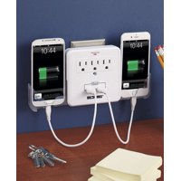 "USB Outlet Multiplier 4-1/2"" Sq. x 2"" 8-3/4"" x 4-1/2"" x 2""Cradles Extended"