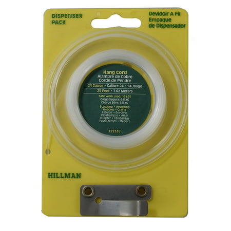 Lot of 10, Hillman Dispenser Pack 24 Gauge/25 Feet Nylon Clear Hang Cord, 122338