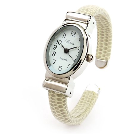 Beige Silver Small Size Oval Face Metal Band Women's Bangle Cuff Watch Dreams Cuff Watch