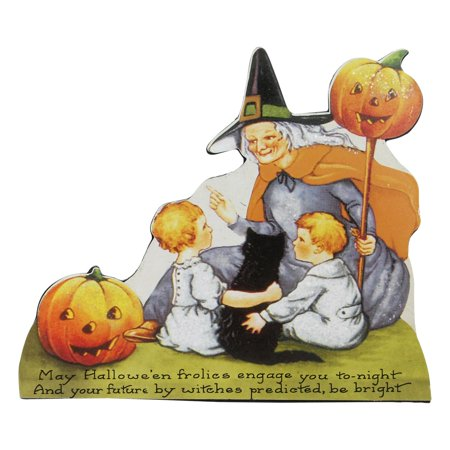 "9.5"" Scripted and Glittered Witch Vintage Halloween Sign Decoration (Halloween 1978 Script)"