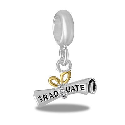 Davinci Beads Charm - GRADUATE DIPLOMA Dangle - Graduated Disc Beads