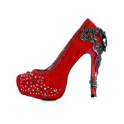 Hades Shoes H-Amina 6 inch Victorian renaissance pump Suede feel fabric upper 8 / Red