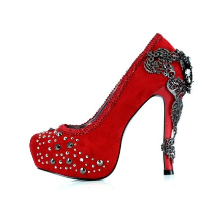 Hades Shoes H-Amina 6 inch Victorian renaissance pump Suede feel fabric upper 11 / Pewter (Renaissance Shoes)