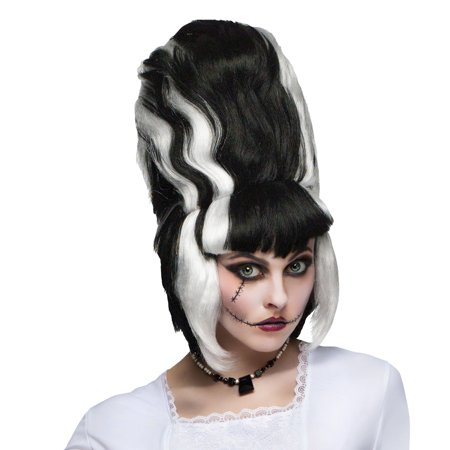Bride of Frankenstein Adult Wig Lady Monster Corpse Black Beehive Streaks - Beehive Wig Black