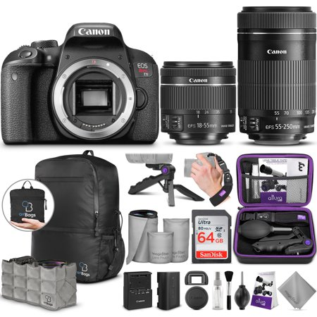 Canon EOS Rebel T7i DSLR Camera with 18-55mm IS STM & 55-250mm Lenses Kit w/Advanced Photo and Travel
