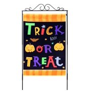"""Trick or Treat Halloween Garden Flag  12"""" x 18"""", Double Sided, Orange and Black Halloween Decorations, Cute Pumpkins"""