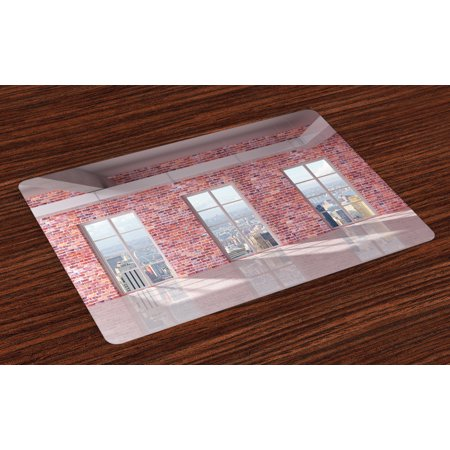- Modern Placemats Set of 4 Red Brick Wall Loft Interior with Windows to City Urban Contemporary Design Print, Washable Fabric Place Mats for Dining Room Kitchen Table Decor,Multicolor, by Ambesonne