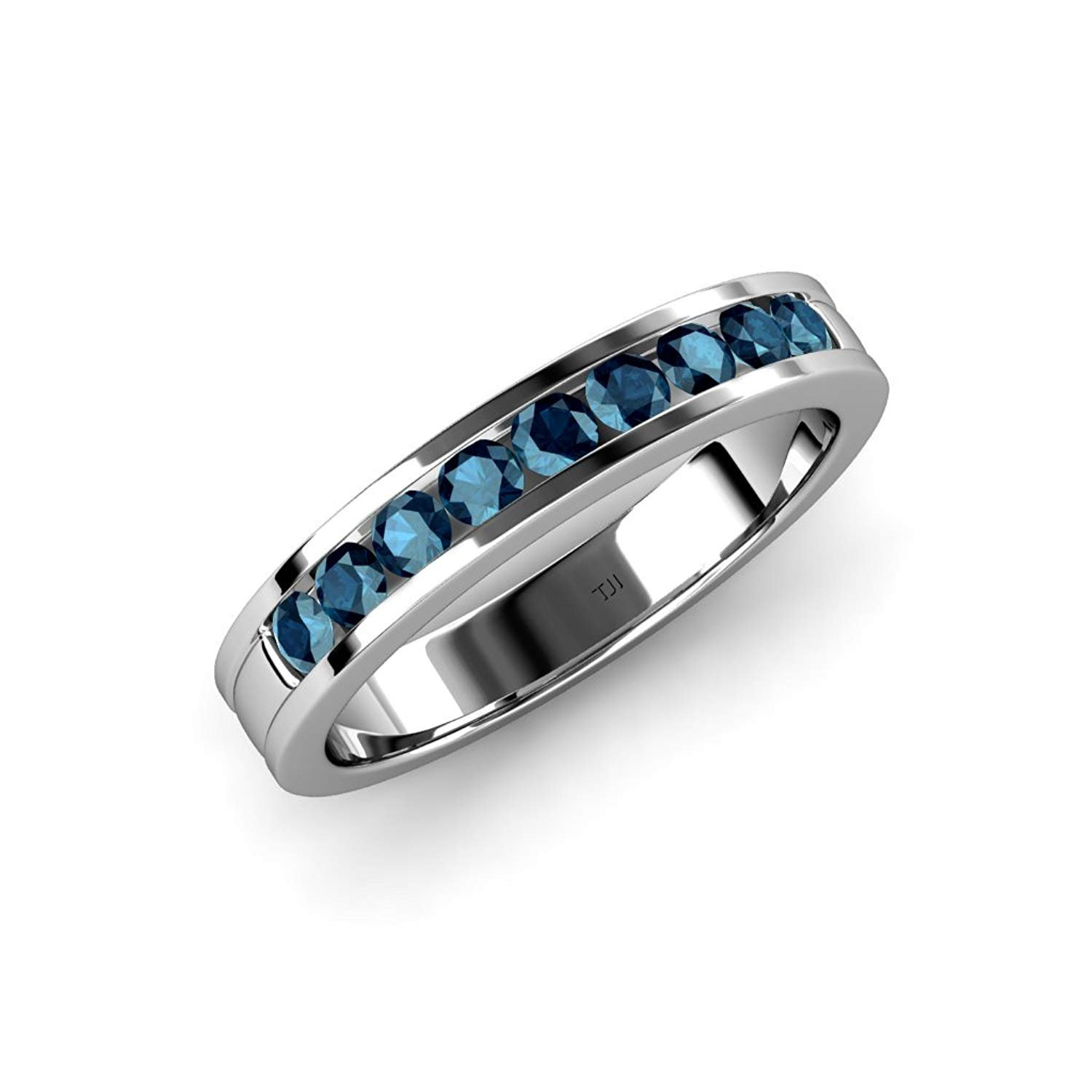 Blue Diamond 2.2mm 9 Stone Channel Set Wedding Band 0.36 Carat tw in 14K White Gold.size 5.5 by TriJewels