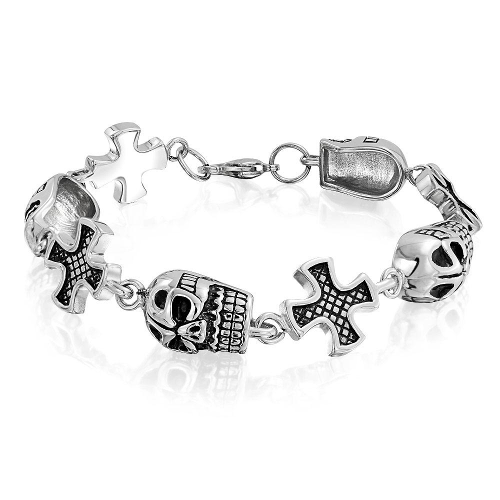 Halloween Jewelry Mens Biker Stainless Steel Maltese Cross and Skull Bracelet