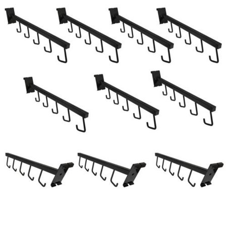 10 Pc 17-1/2''L GLOSS BLACK Gridwall 5 J Hook Waterfall Faceout Square Tube Fixture