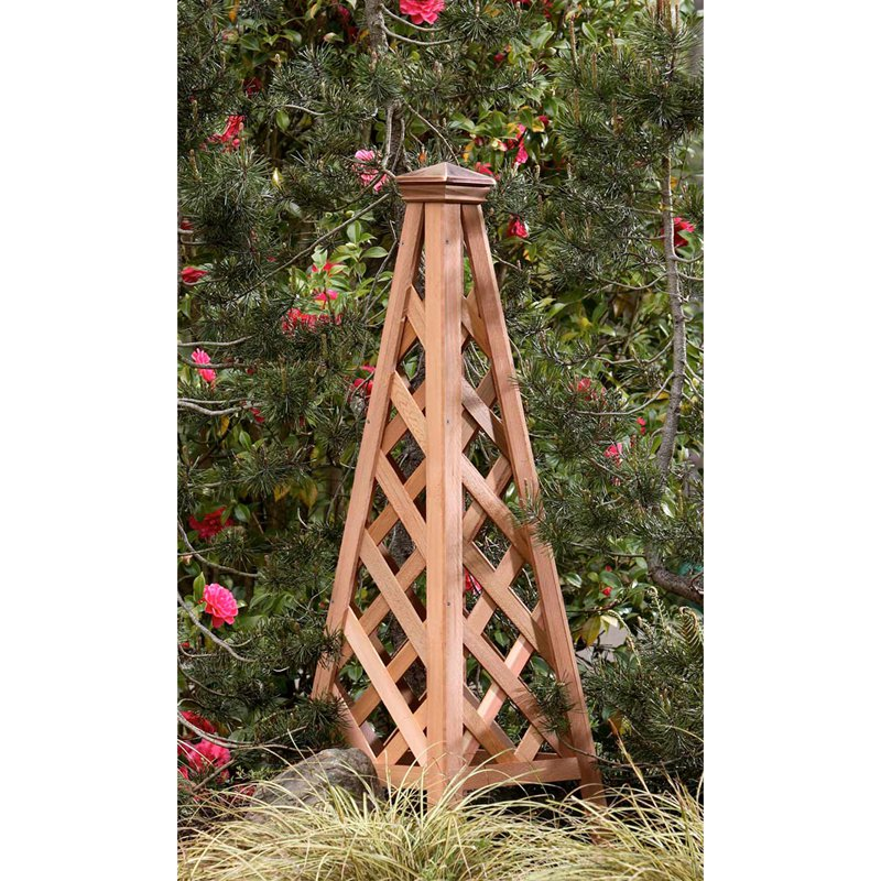 4-Foot Western Red Cedar Wood Copper Clad Pyramid Obelisk Trellis