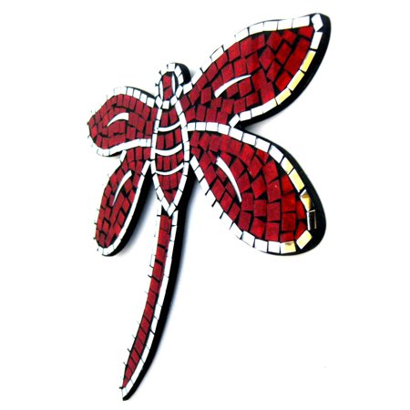 Dragonfly Wall Hanging Decor Dragon Fly Mosaic Mirror Wall Hanging Mirror Celestial Sun Design- RED