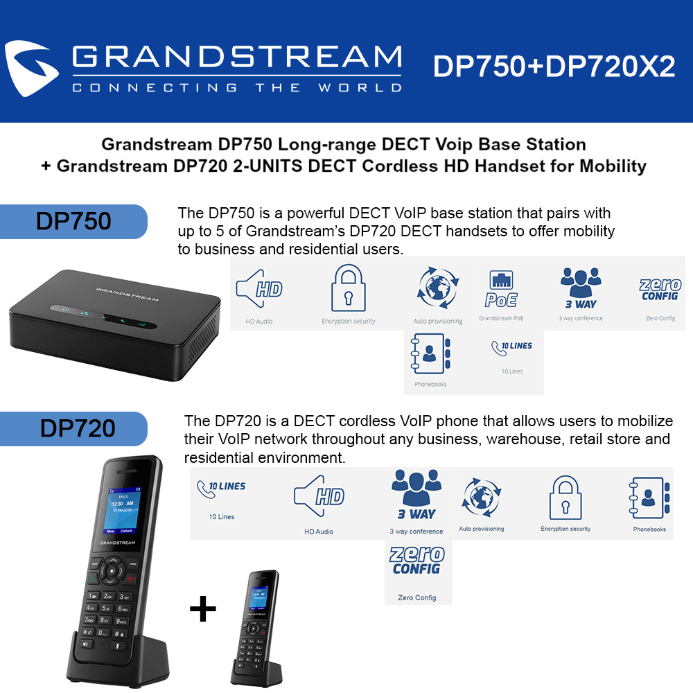 Grandstream DP750 Long-range DECT Base Station + DP720 2-UNITS DECT HD Handset