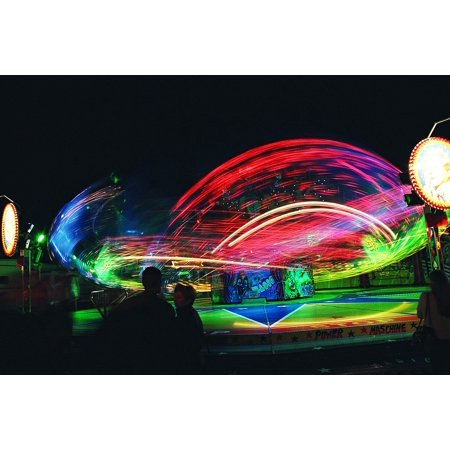 Canvas Print Carousel Ride Red Colorful Green Motion Blur Stretched Canvas 10 x -