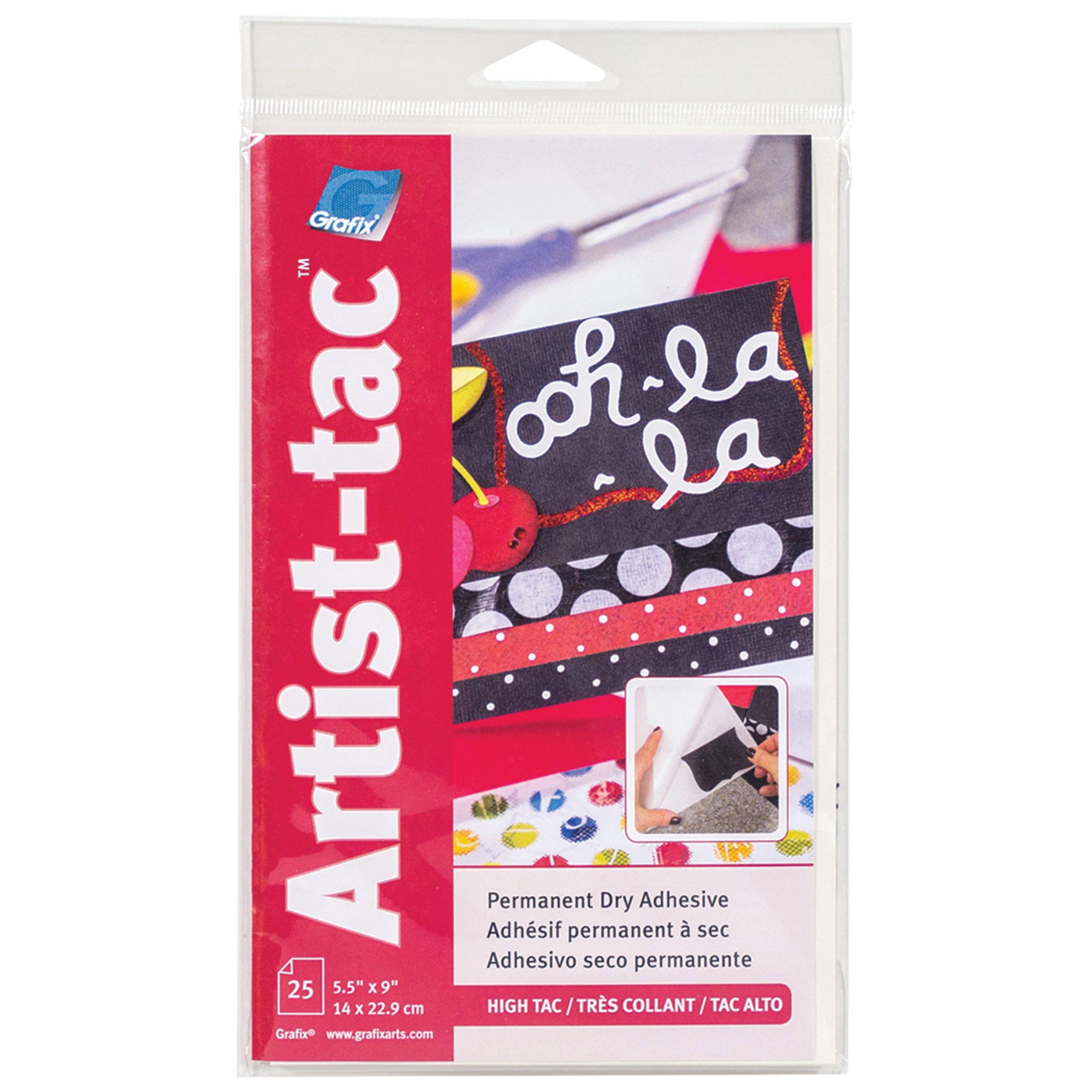 Grafix Artist-Tac Dry Adhesive Sheet, 5.5in x 9in, 25/Pkg.