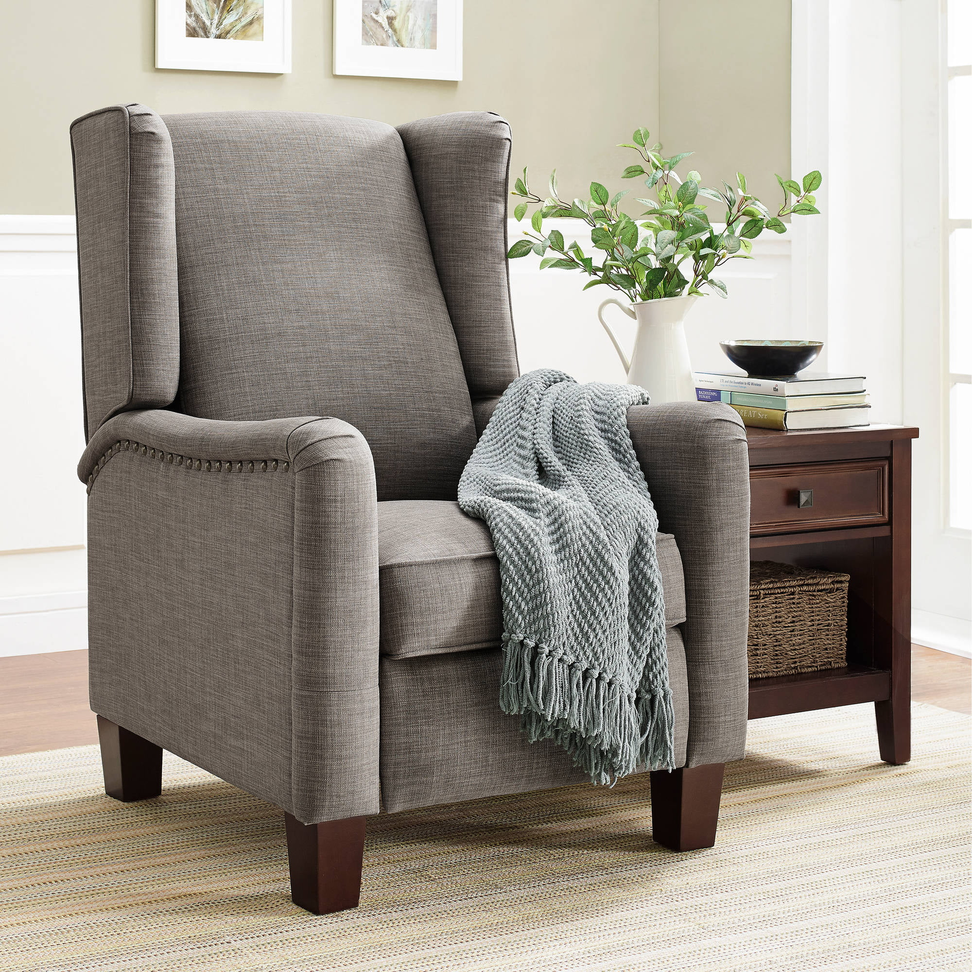 Modern wing chair recliner - Better Homes And Gardens Grayson Wingback Pushback Recliner Walmart Com