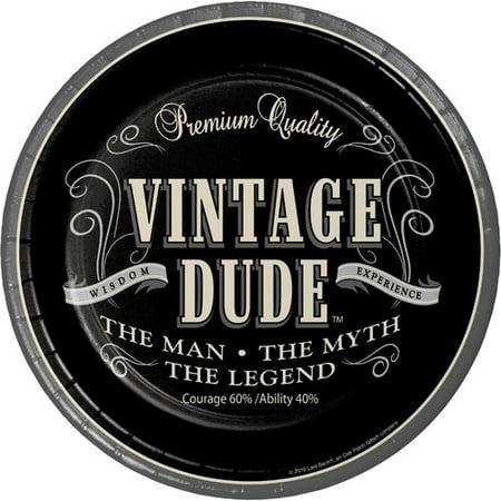 Vintage Dude Paper Plates, 24 Count ()