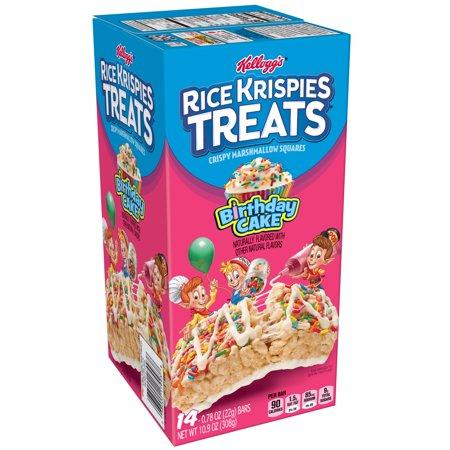 Kelloggs Rice Krispies Treats Birthday Cake Crispy Marshmallow Squares 14 Ct 109 Oz