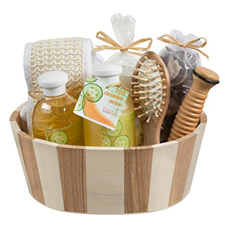 Beauty Spa Set with 2 Tone Natural Wooden Basket Perfect Gift Idea for Women (Beauty Spa Gift Set)