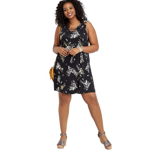 b831f9b6792 maurices - Maurices Lattice Neck Swing Dress - Plus Size 24 7 Collection  Floral Print - Walmart.com