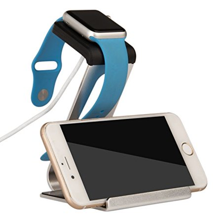 Mosiso Apple Watch Stand and  Aluminum Dual Stand Charge Station for Apple Watch and Smartphone iPhone/Android, fit for all Apple Watch Models - 38 mm and 42 mm - Silver Dual Sim Quad Band