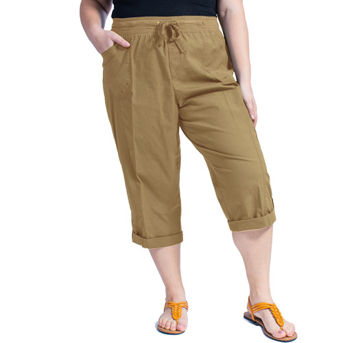 Faded Glory Women's Plus-Size Cargo Capri with Knit Waistband ...