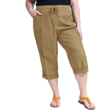 Faded Glory Women's Plus-Size Cargo Capri with Knit Waistband ...