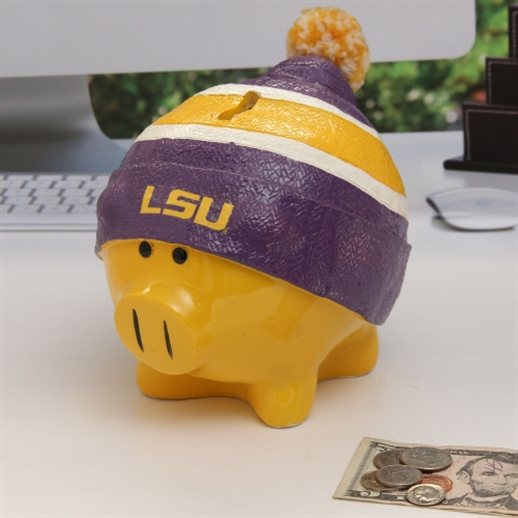 LSU Tigers Piggy Bank Large With Hat by Forever Collectibles