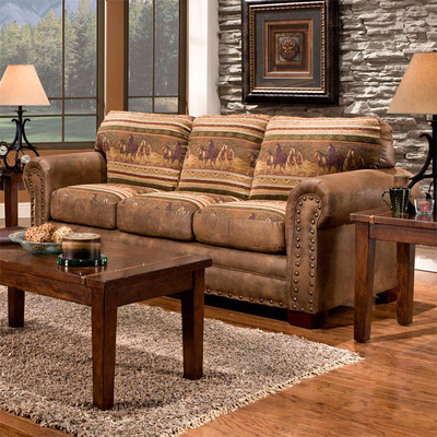 Bundle-48 American Furniture Classics Wild Horses Lodge Living Room Collection (3 Pieces)