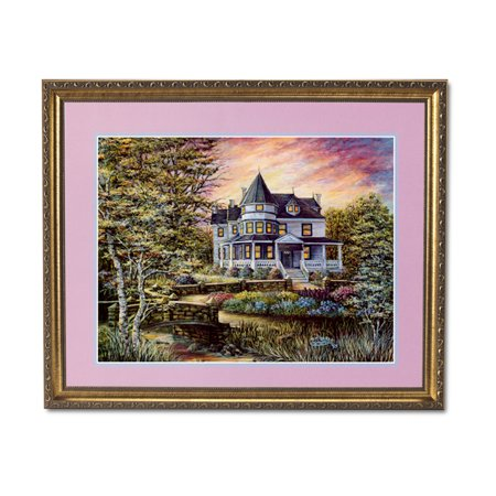 Victorian House Flowers Bridge Contemporary Wall Picture Gold Framed Art (House Of Troy Contemporary Picture Frame)