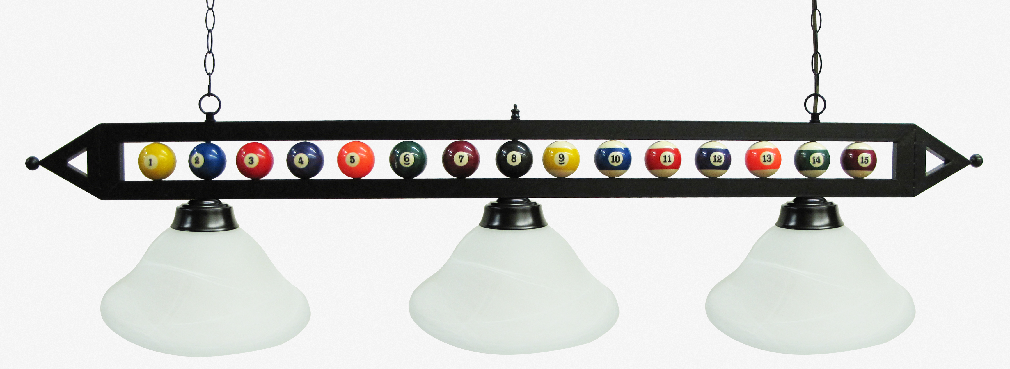 "59"" Black Metal Ball Design Pool Table Light Pool Table Light W White Glass Shades by"