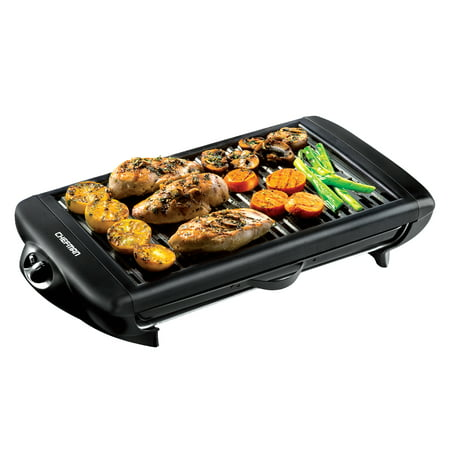 Chefman Electric Smokeless Indoor Grill - Griddle w/ Non-Stick Cooking Surface and Adjustable Temperature Knob from Warm to Sear for Customized Grilling, Dishwasher Safe Removable Drip Tray, Black Dynamic Cooking Systems Grills