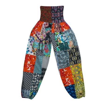 Mogul Womens Patchwork Cotton Regular Harem Pants Printed Colorful Elastic High Waist Loose Casual Comfortable Baggy Gypsy Pants