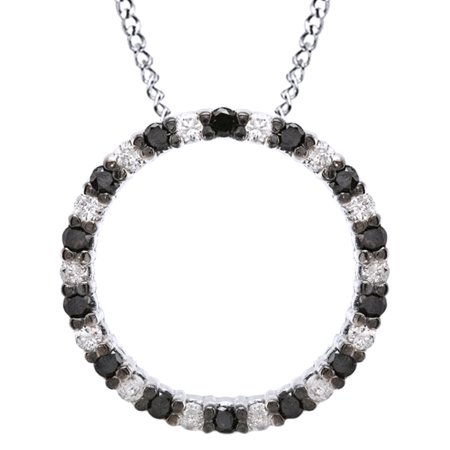 Black & White Natural Diamond Circle of Life Pendant Necklace In 14k White Gold