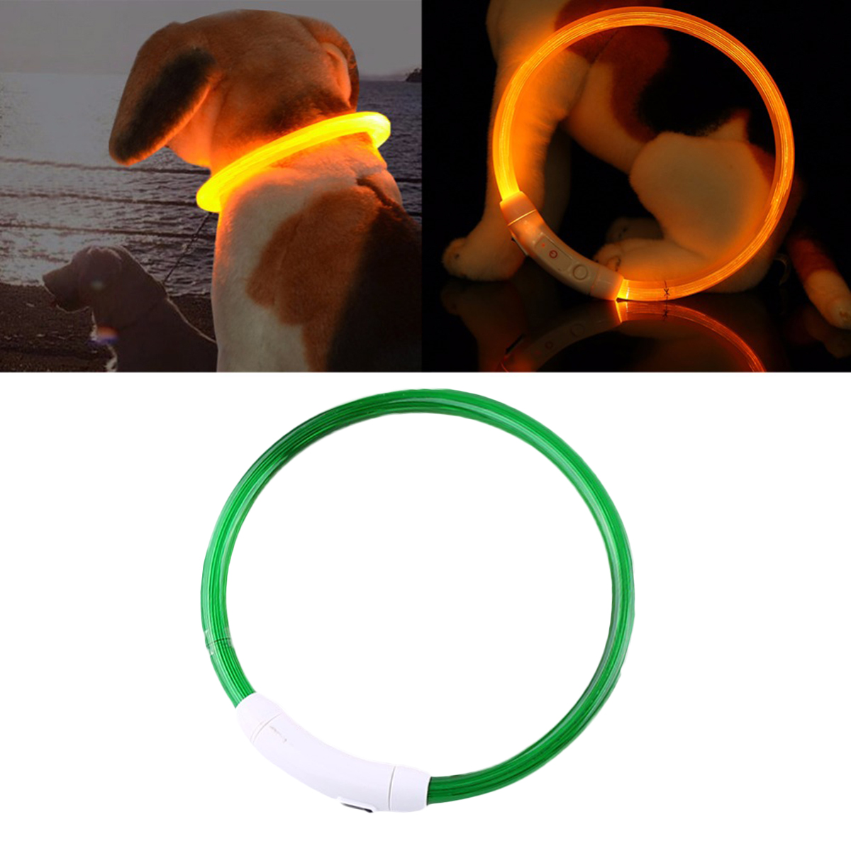 Pet Collar, Legendog Creative Rechargeable LED Light Dog Collar Cat Collar with USB Cable for Night Safety