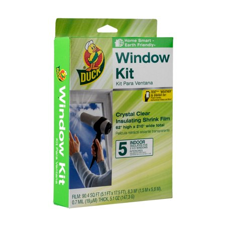 "Plastic Window Insulation - Duck Indoor Window Insulation Kit, Insulates Five 3' x 5' Windows, 62"" x 210"" Film"