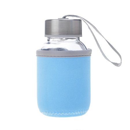 Aspire 5oz Premium Glass Water Bottle with Insulated Sleeve, Stainless Steel Caps with Carrying Loop, Wide Mouth Leakproof Drink Bottles, for Kids-LightBlue ()