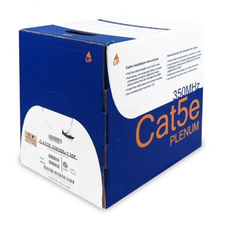 1000' CAT5e (350MHz) Plenum (CMP)/FT6 Solid Network Cable - TechCraft - Black - image 1 of 1