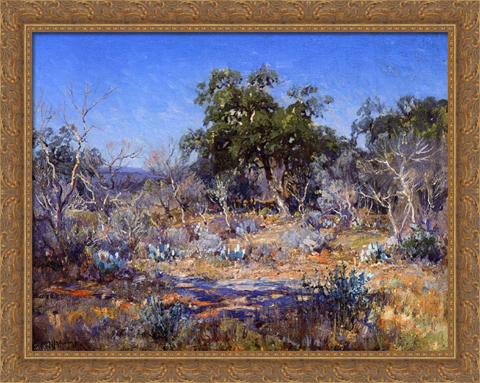 A January Day in the Brush Country 36x28 Large Gold Ornate Wood Framed Canvas Art by Robert Julian Onderdonk by FrameToWall