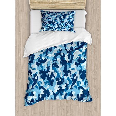 Camouflage Twin Size Duvet Cover Set, Military Infantry Marine Troops Costume Pattern Vibrant Color Palette Surreal, Decorative 2 Piece Bedding Set with 1 Pillow Sham, Blue Coconut, by Ambesonne - Twin Costumes