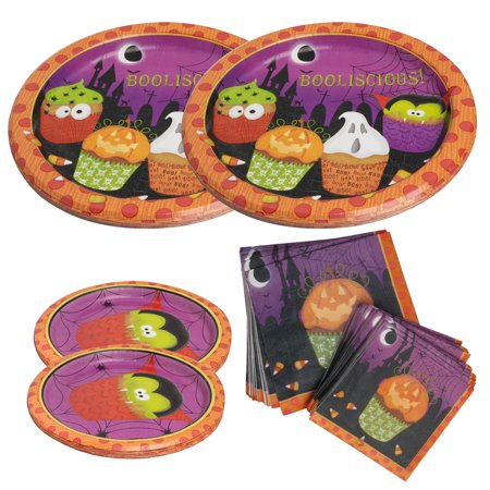 Party House (104 Piece) Halloween Bulk Paper Plates & Napkins Party Supplies Kids Halloween Decorations Set