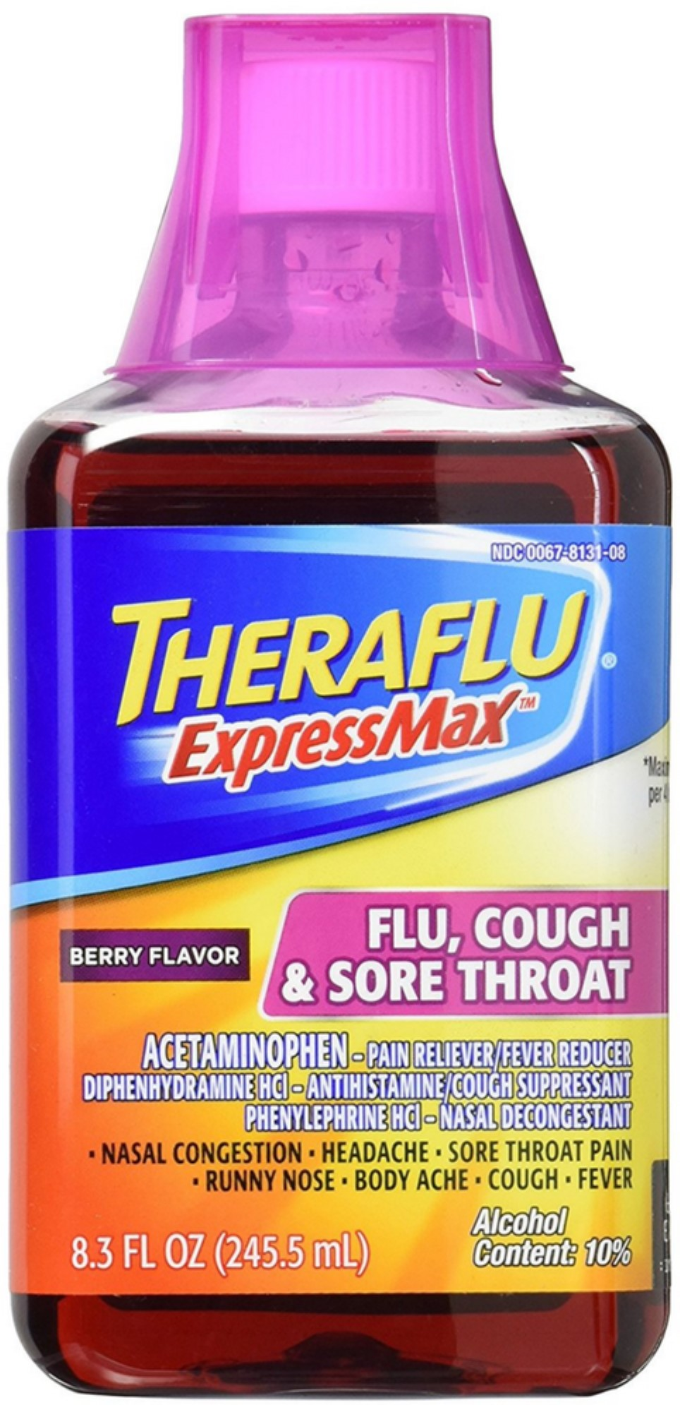 Theraflu Expressmax Flu Cough Sore Throat Syrup Berry Flavor 8 30 Oz Walmart Com