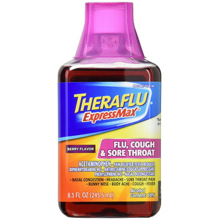 2 Pack - Theraflu ExpressMax Flu Cough & Sore Throat Syrup, Berry Flavor 8.30