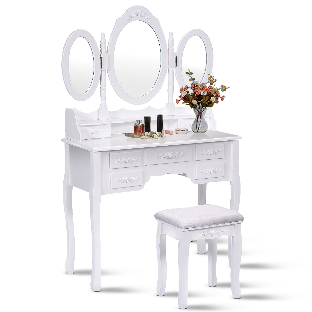 Costway White Tri Folding Oval Mirror Wood Vanity Makeup Table Set with Stool &7 Drawers bathroom by Costway