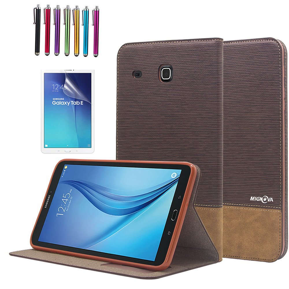 "Mignova Galaxy Tab E 8.0 folio Case , Premium Leather Case Cover For 8"" Samsung Galaxy Tab E 8.0 (Sprint / US Cellular) SM-T377 4G LTE 8-Inch Tablet + Screen Protector Film and Stylus Pen (Dark Brown)"