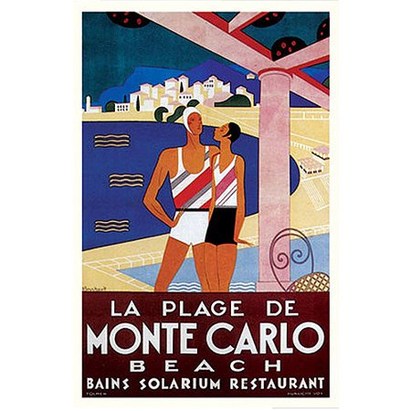 Trademark Fine Art  La Plage De Monte Carlo Beach  Canvas Art By Phillipe Bouchard 18X24