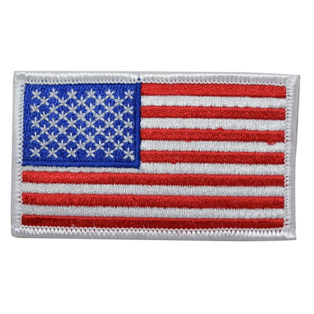 American Flag - White Border - Iron on Applique/Embroidered Patch (Applique Border)
