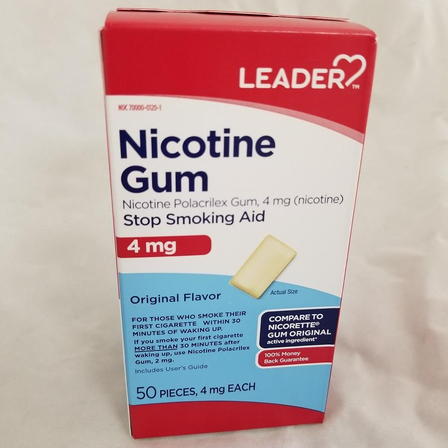 Leader Polacrilex Nicotine Gum, 4mg, 50ct 096295128567F1245