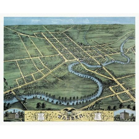 Historic Map Of Warren Ohio 1870 Trumbull County Poster Print